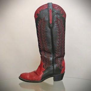 Vintage RedBlack Lizard American Made Cowboy Boots
